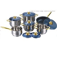 Attractive12 Wide Edge Stainless Steel Cookware Pot Sets with Color Paiting