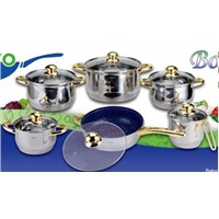 south american market colorfull stainless steel cookware set 12pcs with milk pot