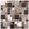 Marble Wall Tile Mixed Brushed Aluminium Ice Crackle Crystal Glass Mosaic