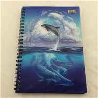 new animal dolphin plastic 3d lenticular notebook from Guangzhou 2015