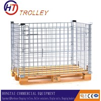 Heavy Duty Warehouse Wooden Pallet Stackable Folding Galvanized Storage Cage