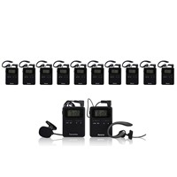 Digital wireless audio tour guide package(2 pc transmitter+10 pc receivers+Chargers+Acessories)
