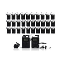 Wireless audio tour guide package(2 pc transmitter+30 pc receivers+ Chargers+Bag)