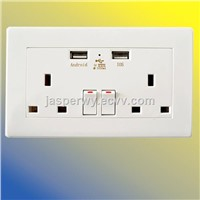 Double UK type wall socket with 2 USB socket and 2 on/off button---Model No.: YH-2UK-2ANIS4A
