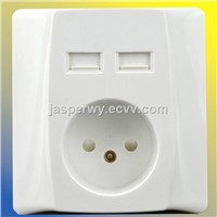 Euro type USB wall socket with dual USB socket with cover---Model No.: YH-NTEU-2USBWC