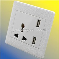 Universal type  (3 Pin) with 2USB socket--Model NO.:YH-FL-2USB2A