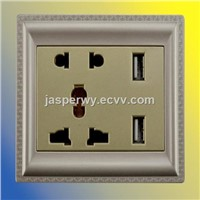 Universal type (5 Pin) with 2 USB socket---Model No.:YH-MIR-5UV