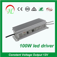 Aluminum 100w single output waterpoof power supply led driver 220v 12v transformer