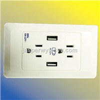 Type B: US type dual wall socket with 2 USB socket----Model No.: YH-2US2USB2A