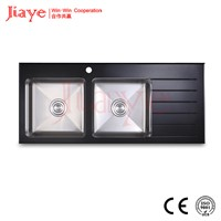 Kitchen double sink with drain board/Novel design handmade sink glasstop JY-1165G
