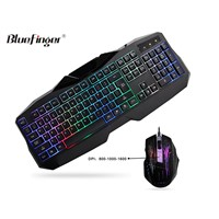 Fashional Rainbow backlit Wired Keyboard and Mouse Combo Set for laptop desktop