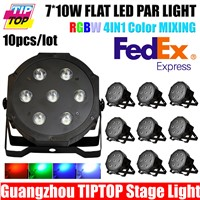 TIPTOP Flat Led Par Light Real Power RGBW DMX IN & OUT Control 7*12W 4IN1 Wedding Party Club