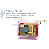 Handcrank Musical Movement Transparent Music Box (YH2JG/C-03)