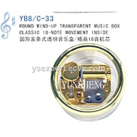 Round Wind-up Transparent Music Box Classic 18 Note Movement (YB8/C-33)