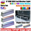 Flight case Packing 9*18W 6IN1 RGBWA UV Wireless Battery Led Washer Light DMX 512 6/10CH Remote