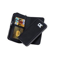 Wrist Strap Zipper Wallet Leather Cover Case W/ Card Slot Money Pocket For Samsung Galaxy S6 SGS6C59