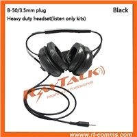 Noise Canceling behind-the-head heavy duty headset with microphone for two way radio