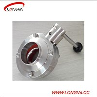 sanitary stainless steel manual butterfly valve with pulling handle