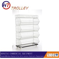 stackable 5 tier  wire basket cage metal display stand factory direct sale
