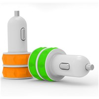 Silicone Shell Dual USB Car Charger for mobile devies