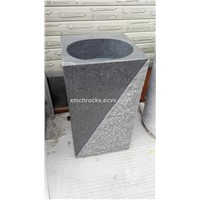 G654 Pedestal Sink, Dark grey granite pedestal sink