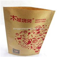 Custom Logo Printing Brown Kraft Paper Bag For Grease Proof Food