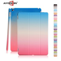 Hot Sale PU smart cover case for iPad mini 4styles rainbow suit cases folded 3 cases