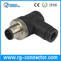 M12 right angle male assembly connector