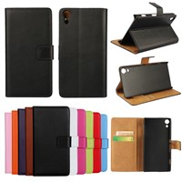 For Xperia Z4 Real Genuine Wallet Leather Case Flip Stand Cover for Sony XperiaZ4 SZ4C05