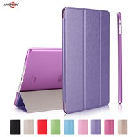 Hot Sales Silk Pattern PU smart cover case for iPad air/air 2 folded 3 styles