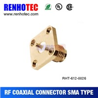 4 holes flange gold plated SMA female connector panel mount