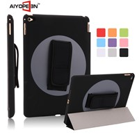 High Quality and Hot sales rotating 360 degree handheld PU case for iPad Air 2 back cover PC case