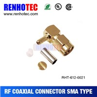 gold plated right angle cable crimp SMA plug connector