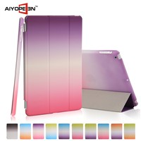 New arrival rainbow case smart cover for ipad mini1/2/3 folded 3 rainbow Protective Case