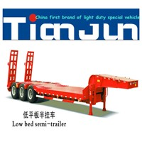 3Axles 50tons payload low bed semi trailer for machine transport