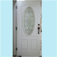 Oval glass steel door leaf