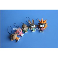 Mobile phone straps with Plastic cartoon toy