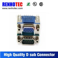 90 degree dual port DB 9P male to DB 9P female connectors PCB mount