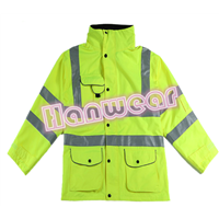 High visibility waterproof workwear safety jacket with hood H201501