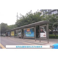Bus shelter with stainless steel