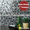 "MM Mosaic gray blend 1"" hexagon glass mosaic wall tile"