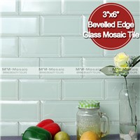 "MM Mosaic 3""x6"" bevelled edge reflective glass subway tile"