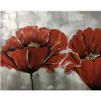 Oil painting 100% Handmade Flower design Red color
