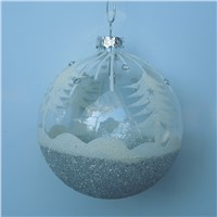 Hand Painted Ball-Shaped Chirstmas Tree Pendants Christmas Day Glass Ball