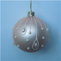 Christmas Day Glass Ball with White Pearl Decorative Glass China Supplier