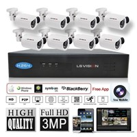 LS Vision 8 channel 3MP 1080P HD POE NVR Security Surveillance Kit with 8pcs 3MP IR Bullet IP Camera