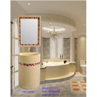 Sandstone Decorative Bathroom Sink with Makeup Mirror