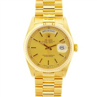 100% Original Rolex President Men's Day Date 18k Gold Watch