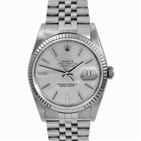 100% Original Rolex Mens Stainless Steel Datejust Silver Stick Dial Watch