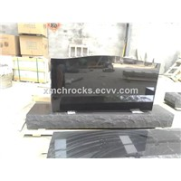 Black granite headstone, black granite monument
